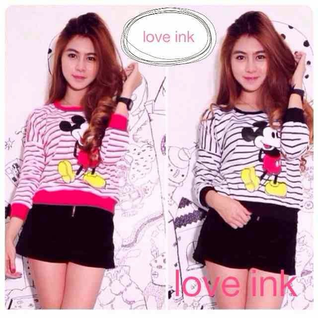 LS Mickey Stripe - Love Ink - Harga Saudara