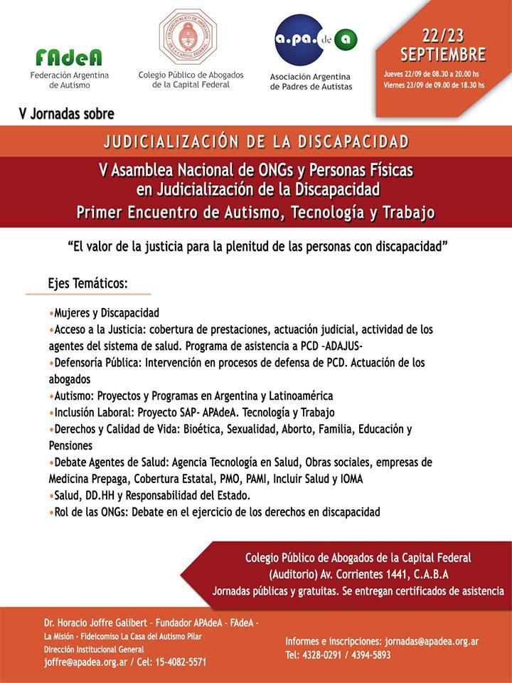 V Jornadas en Judicialización de la Discapacidad - V Asamblea Nacional de ONGs y Persona
