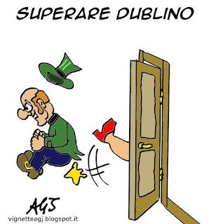 Merkel, trattato di Dublino, profughi, vignetta satira