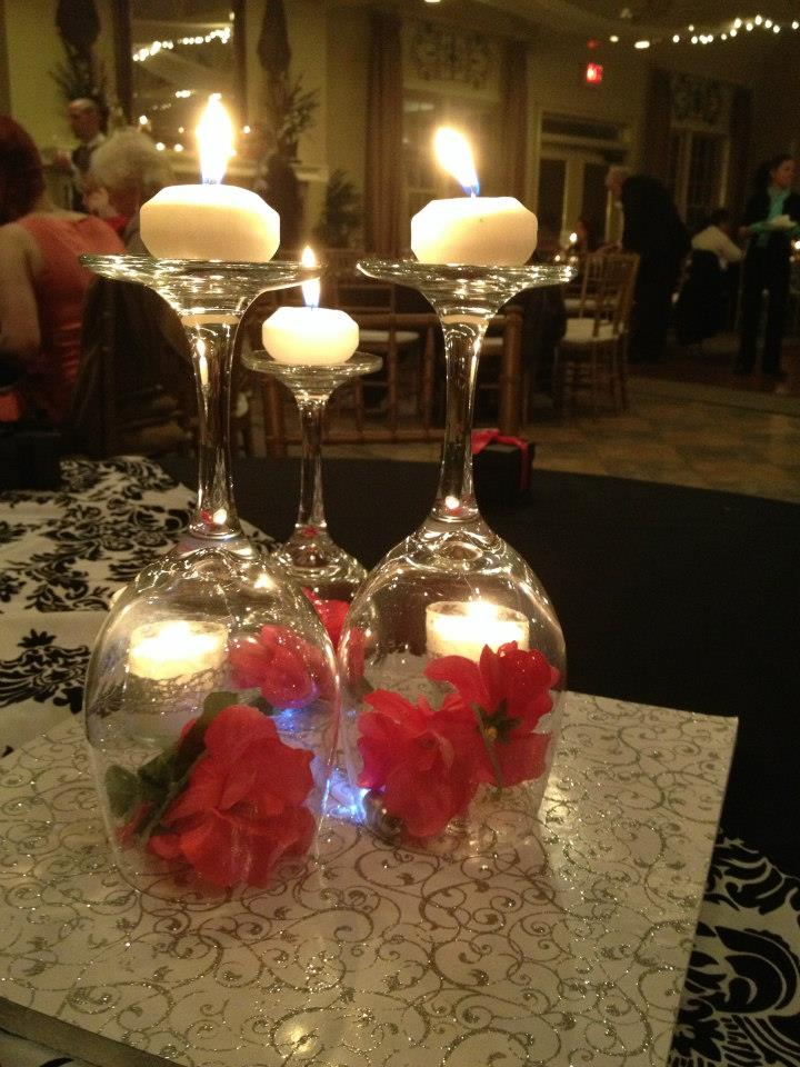 Vecoma at the yellow river congrats lindsey and josh for Centerpieces made with wine glasses