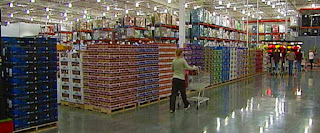 Photo image of the product isles inside of a Costco store.