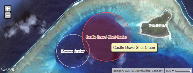 Map of BRAVO and ROMEO craters at Wikimapia