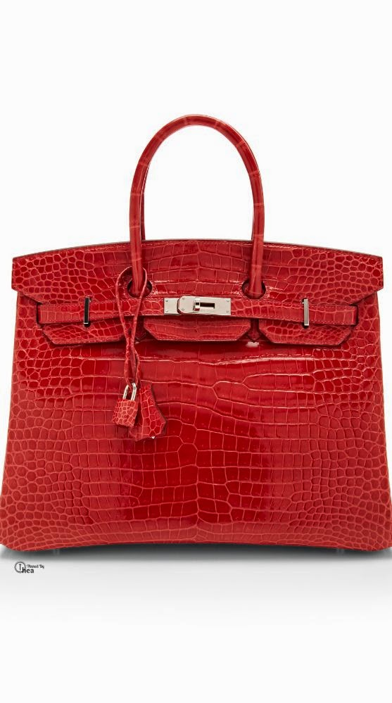 Hermes 35cm Crocodile Birkin Red
