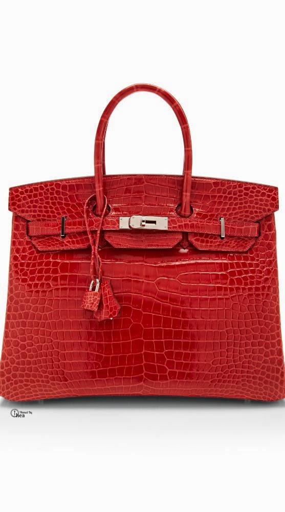 Hermes 35cm Crocodile Birkin Red