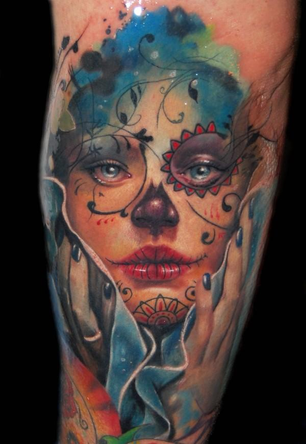 Design on my mind tattoo monday give me some sugar skulls for Candy skull tattoo