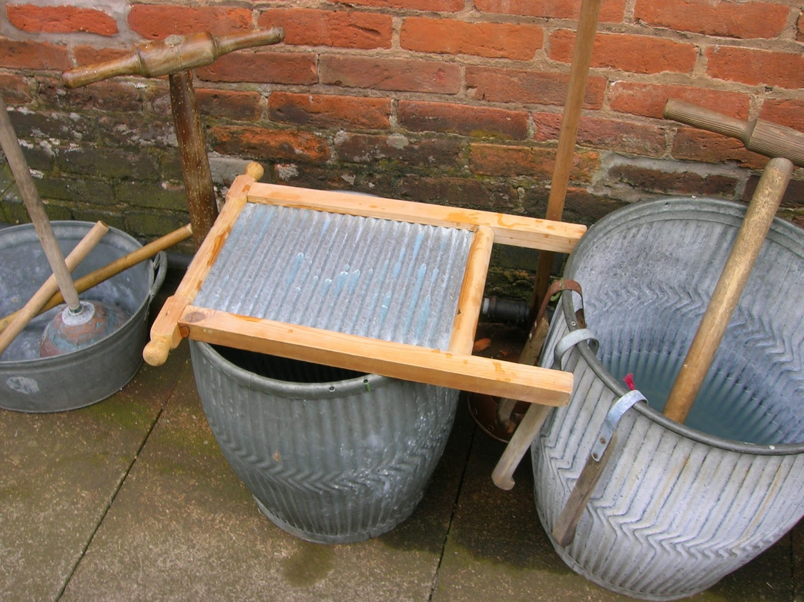Old Fashioned Wash Day - Dolly Tubs, Posser and Scrubbing Board