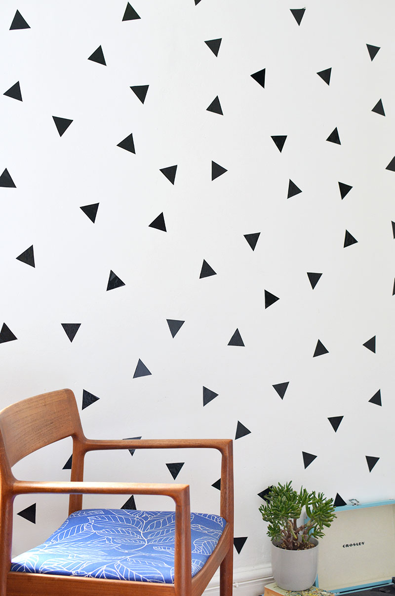 Diy removable triangle wall decals burkatron be careful when you remove the decals from your walls when you want to change them just slowly peel them off i was gentle and not a scrap of paint came amipublicfo Gallery