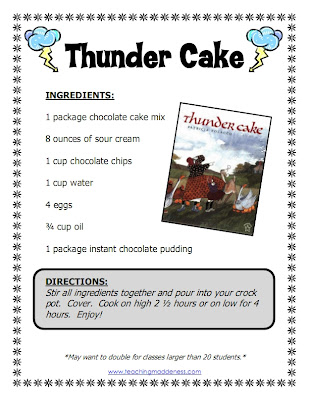 Thunder Cake Worksheets
