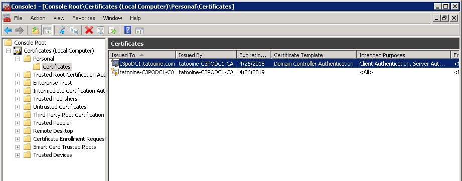 Think big with powershell validate domain controller to make sure the certificate is always valid and does not expire you can setup auto enrolment via gpo if you have a nice ad integrated pki infrastructure yelopaper Choice Image