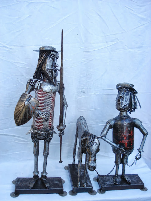 Trio: Quixote, Sancho Pança e rocinante