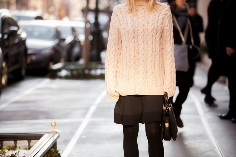 Polo Ralph Lauren cream chunky cable knit turtleneck, vintage structured leather bag, Balenciaga skirt, outfit details