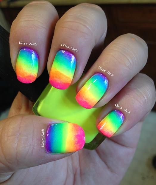 vixen nails rainbow ombre tutorial