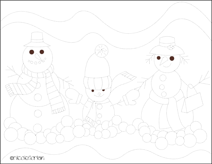 Nicole 39 s free coloring pages snowman family coloring for Snowman dot to dot coloring pages