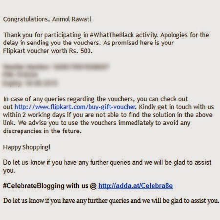 Flipkart Voucher for WhatTheBlack: Day 70 of 100 Happy Days Challenge