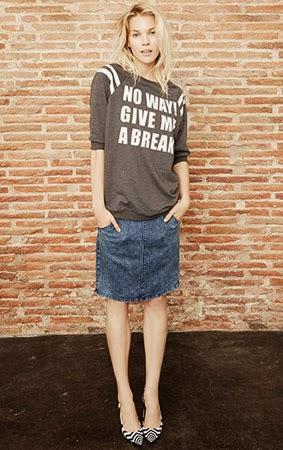 saia denim Suiteblanco coleção jeans & denim look suéter