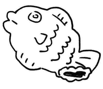 たい焼きのイラスト(お菓子) モノクロ線画