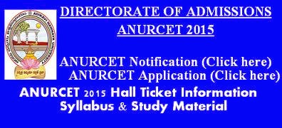 ANURCET 2015 Hall Ticket Syllabus and Study Material