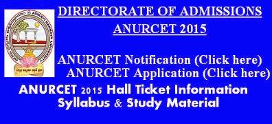 ANURCET 2015 Hall Ticket Syllabus and Study Material