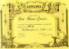 DIPLOMA CONCEDIDO A JOSE MAURI CHACON