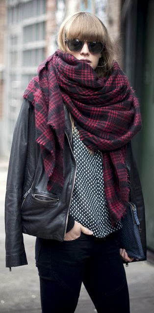 oversized checked scarf