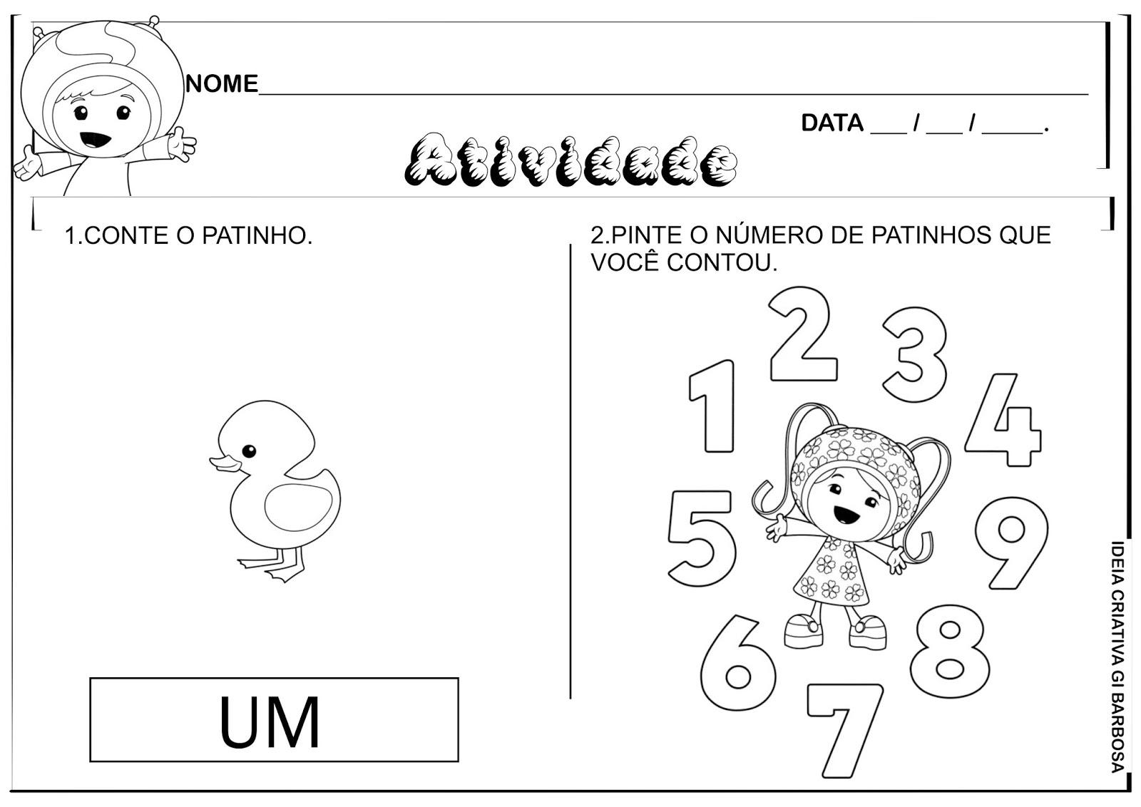 Favoritos Matemática Infantil: Atividades Matemática Números 1,2,3,4 e 5  LX33