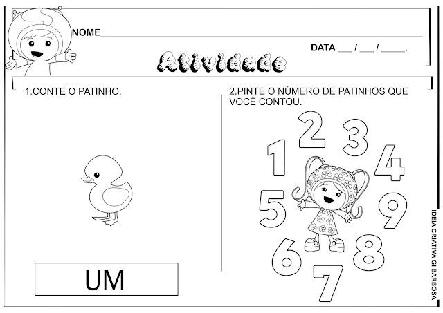 Atividades Matemática Números 1,2,3,4 e 5 Umizoomi