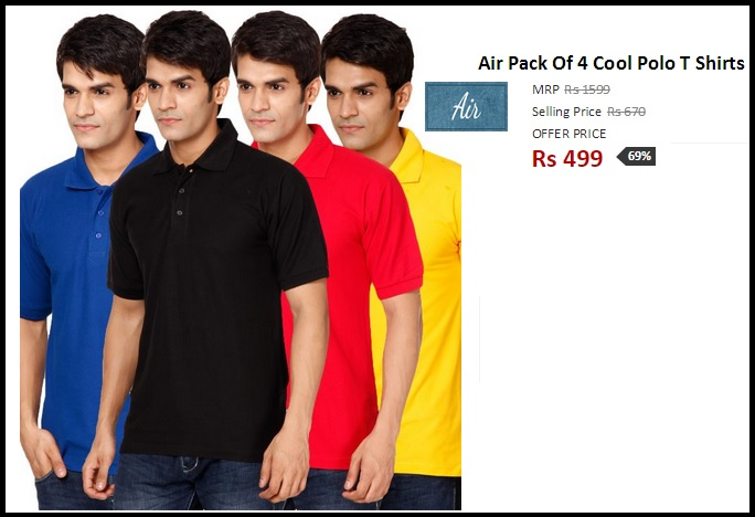 Pack of 4 Cool Men's Polo T-shirts For Rs.499 Only + Free Shipping.