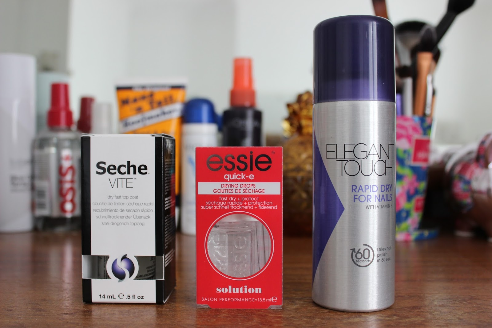 Seche vite top coat, Essie quick dry drops, Elegant touch rapid dry spray