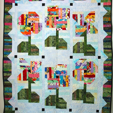 Happy String Flowers Quilt