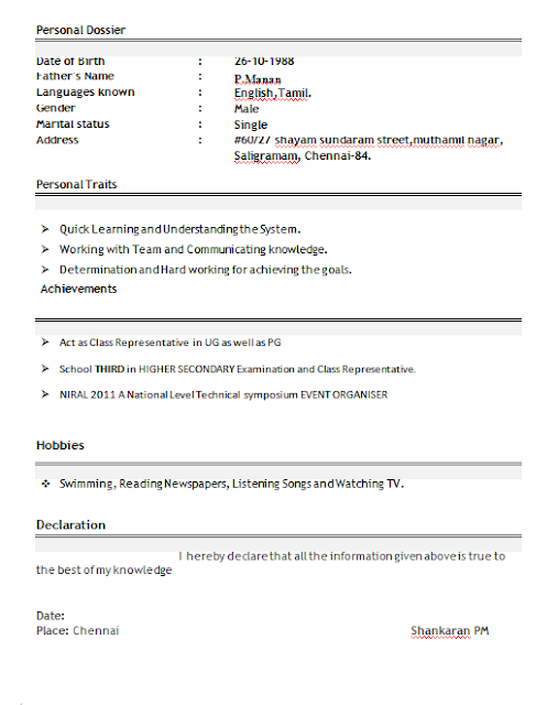 resume title examples for freshers - Download Professional Resume