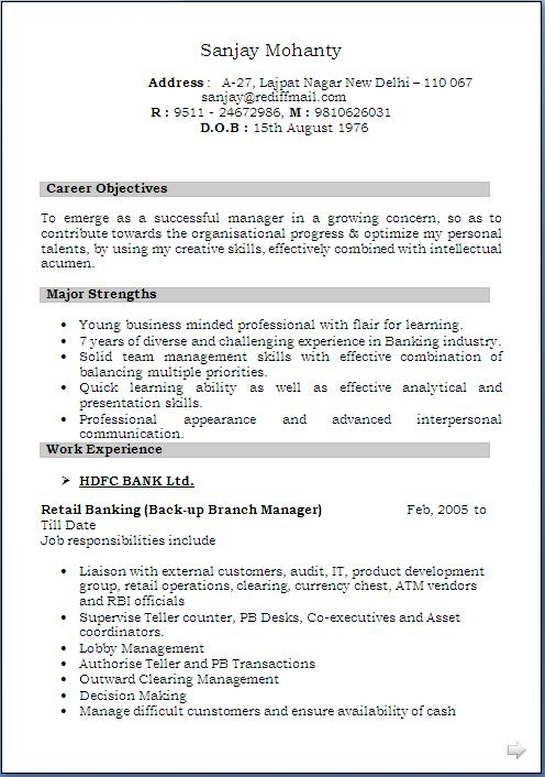 sle resume objective bank branch manager