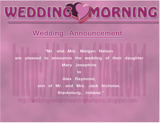 Wedding announcement wording sample for newspaper