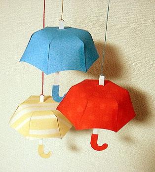 How to Make with Paper Umbrella : 折り紙 型紙 : 折り紙