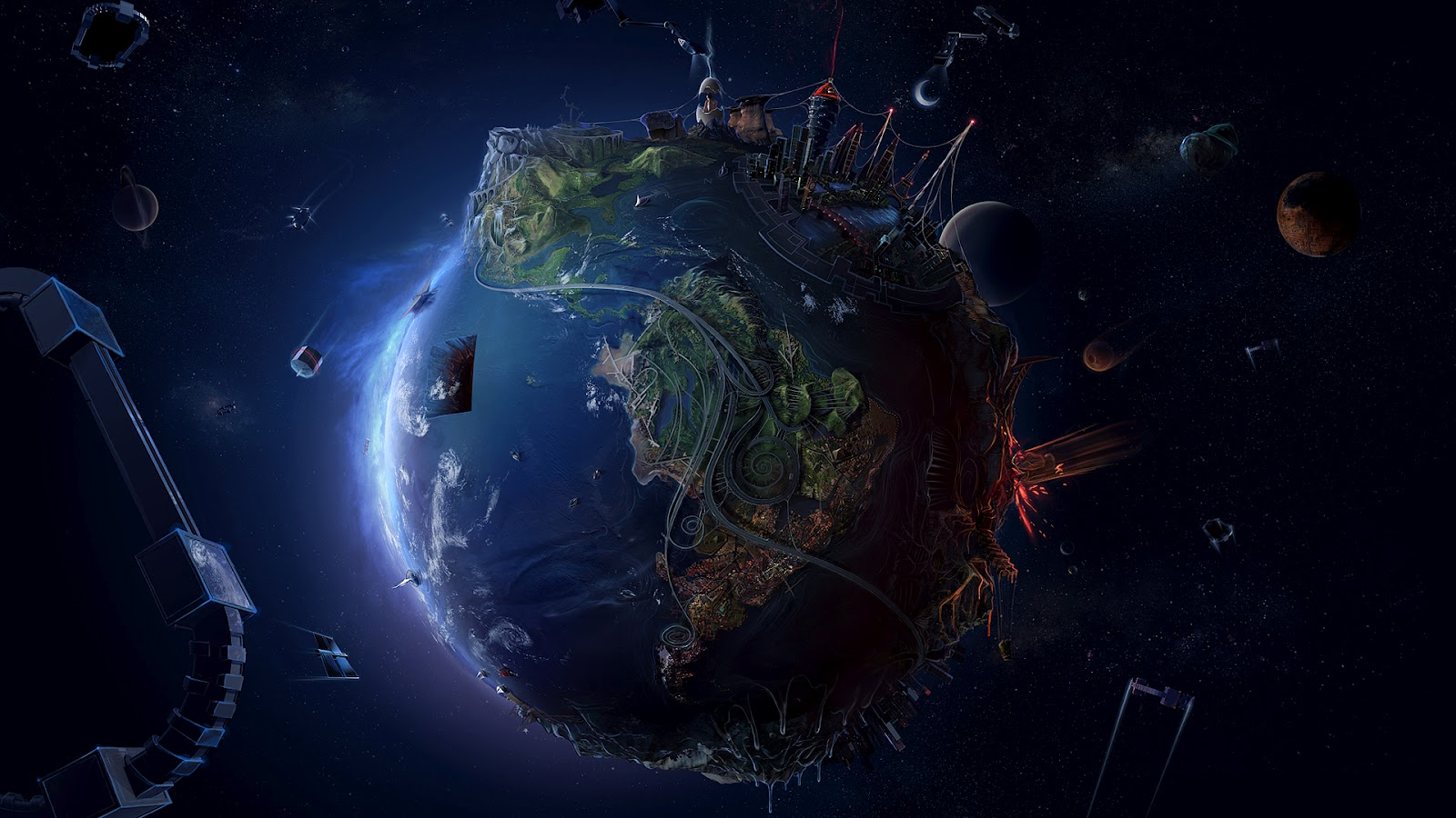Animated Globe HD Wallpaper, Space HD Wallpaper, 3D Space HQ Wallpaper