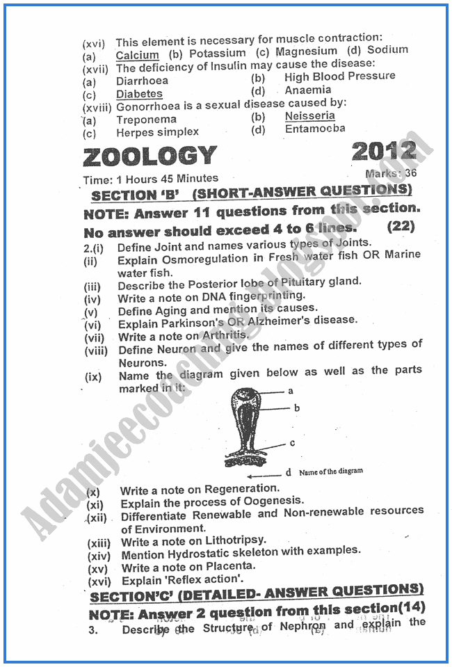 2012-Zoology-past-year-paper-class-XII