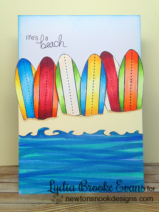 Surfboard beach card by Lydia Brook for Newton's Nook Designs | Beach Party Stamp Set