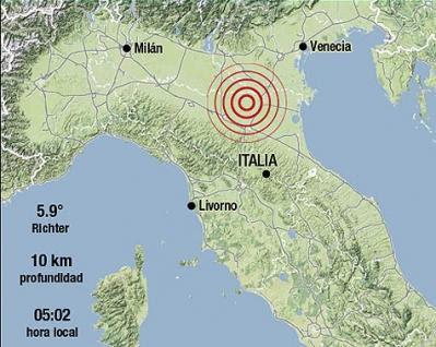 Al menos 10 réplicas del terremoto de 5,2 grados de magnitud en la escala de Richter que ayer sacudió el norte y el centro de Italia, 22 DE JUNIO 2013