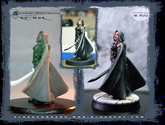 Proceso de pintado realizado por m.RUIZ en exclusividad para la miniatura esculpida por RU-MOR de un personaje de Ghilbrae para el juego de rol de Aventuras en la Marca del Este
