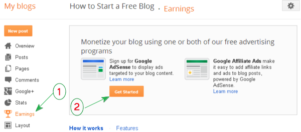 (screenshot) Earning tab in Blogger dashboard