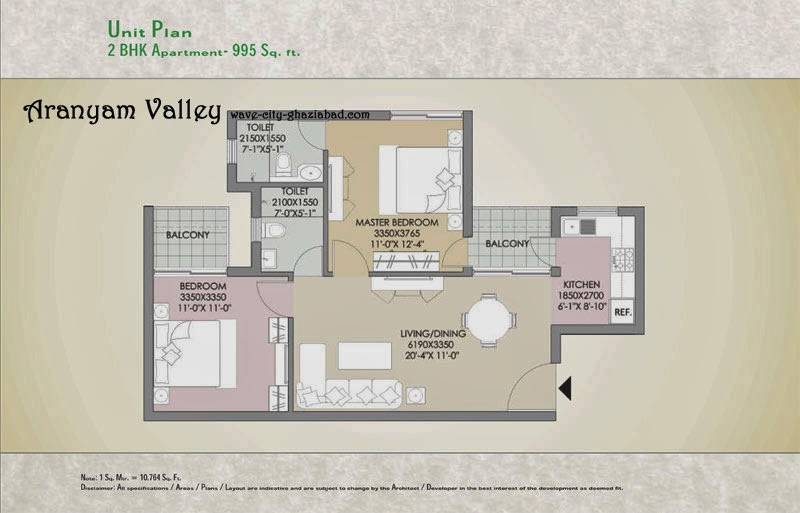 Aranyam Valley 3 BHK Apartment 995 sqft Layout