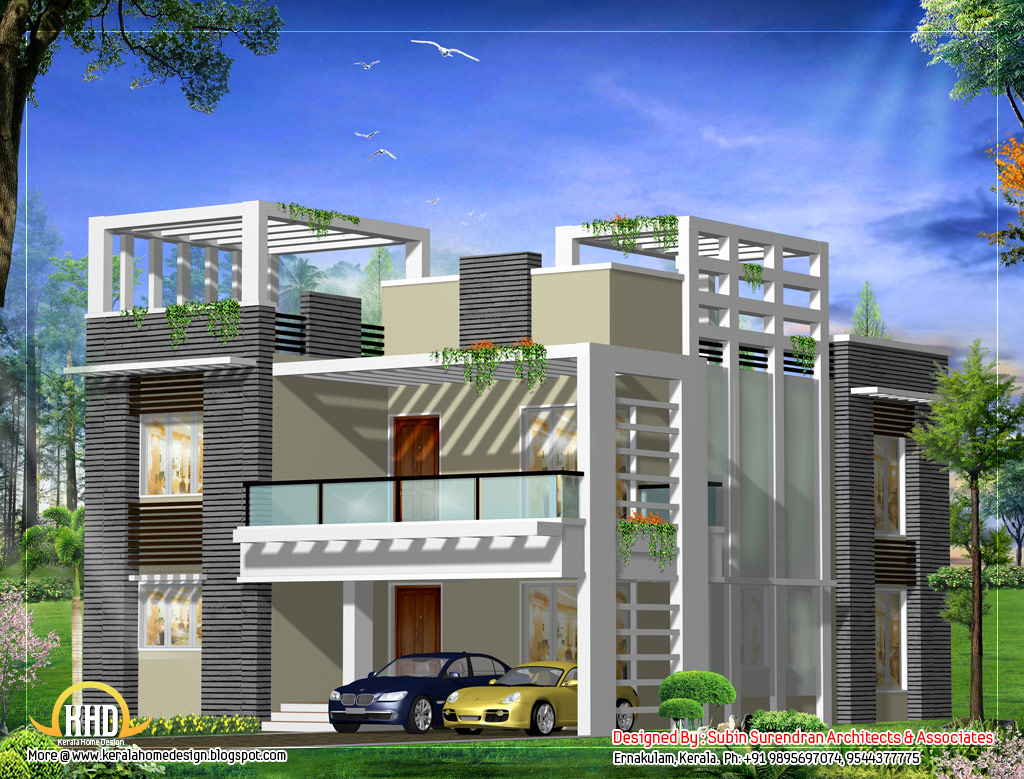 Modern home design plan 2500 sq ft kerala home for Modern square house plans