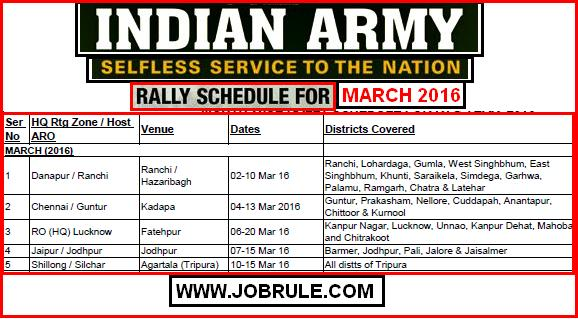 Upcoming Army Soldier Recruitment Rally Schedule for the Month of March 2016