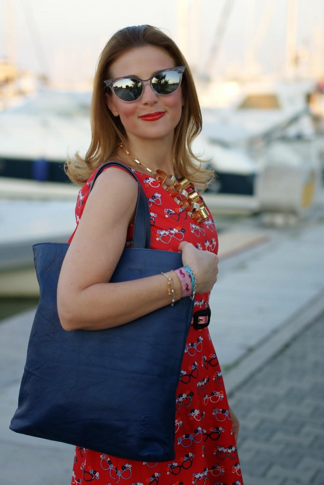 glasses print dress, romwe milk bag, vitti ferria contin necklace, Fashion and Cookies, fashion blogger
