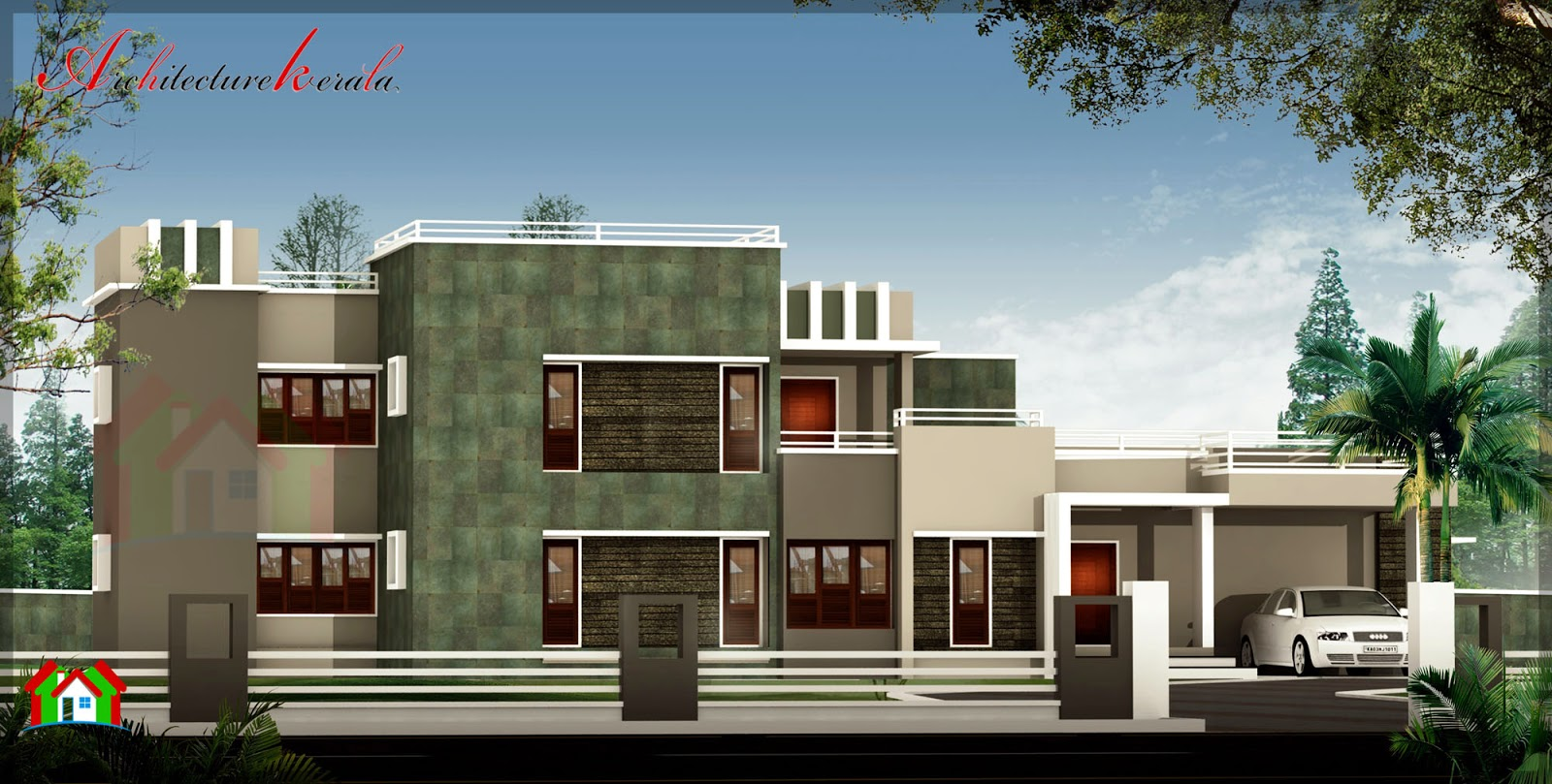 3000 sq ft modern style house elevation architecture kerala for Contemporary building elevation