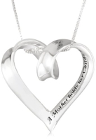 "Sterling Silver ""A Mother Holds Her Childs Hand For A Short While and Their Hearts Forever"" Open Heart Pendant Necklace, 18"""