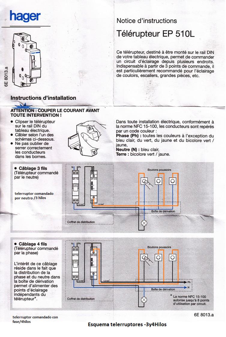instrucciones telerruptor 3y4 hilos hager
