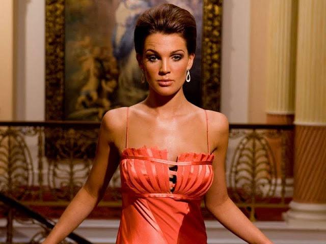 Danielle Lloyd sexy in orange dress  fashion