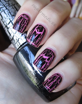 Orly Fancy Fuchsia Swatch OPI Black Shatter
