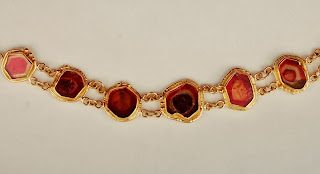 Watermelon tourmaline link bracelet in 18k and 22k gold