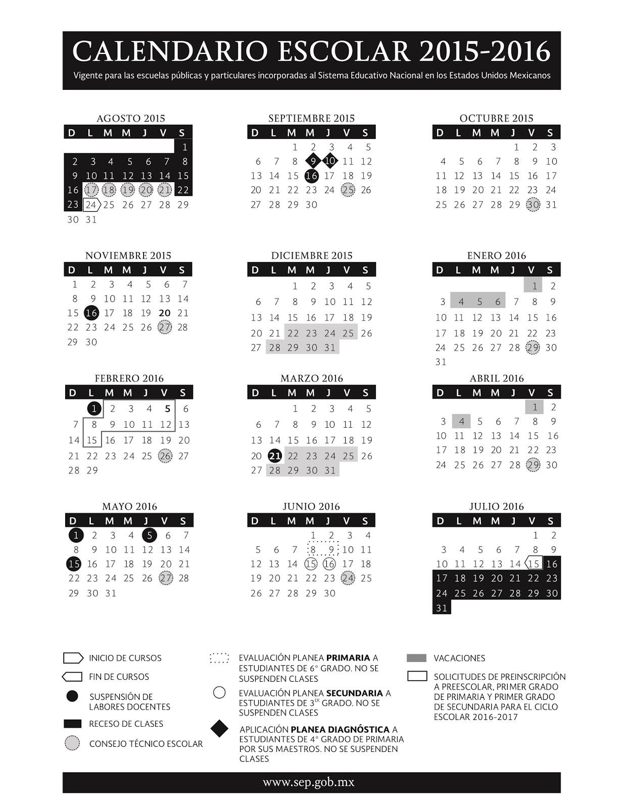 Calendario escolar 2015-2016 | Consejo Técnico Escolar. Foránea 4 ...